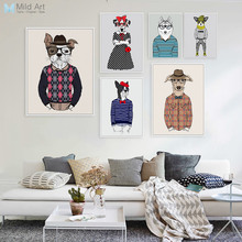 Modern Fashion Animal Dog Pug Portrait Poster A4 Gentleman Hippie Big Wall Art Picture Nordic Home Deco Canvas Painting Custom