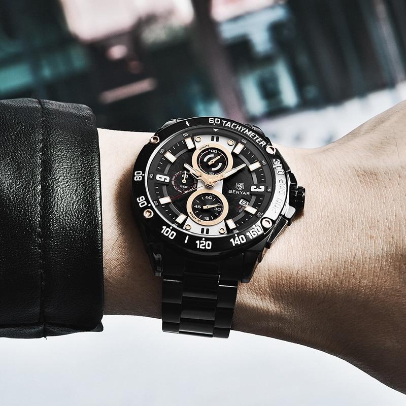 Image 5 - BENYAR Quartz Mens Watches Top Brand Luxury Watch Man Steel Waterproof Sport Mens Wristwatch Chronograph Relogio Masculino 2019-in Quartz Watches from Watches