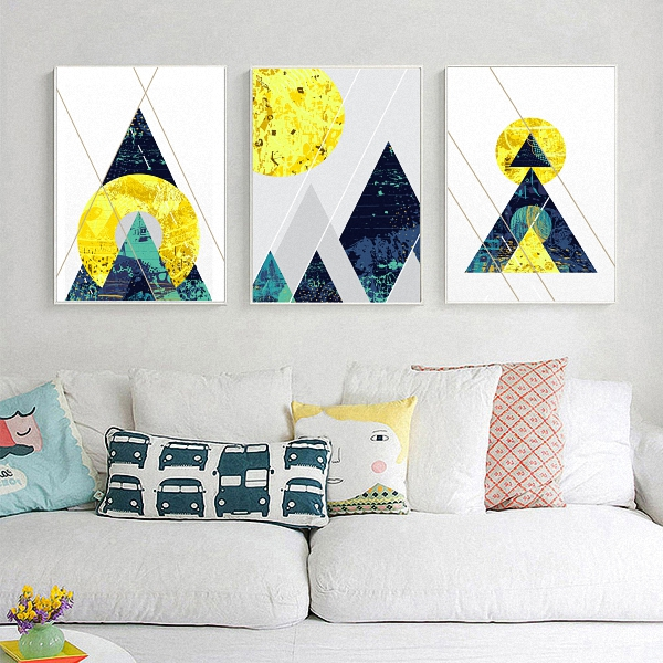Geometric Graphics Abstract Nordic Modern Moon Mountain Landscape Poster Canvas Wall Living Room Decoration Combined