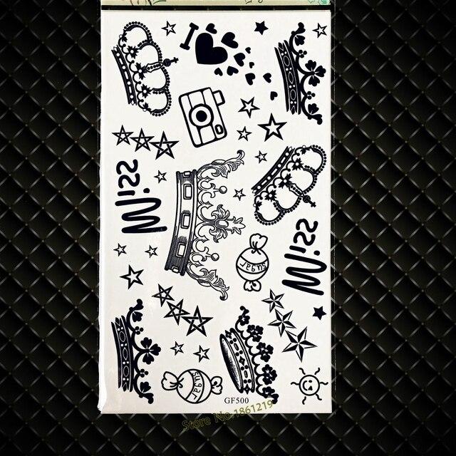 Children Christmas Gifts Temporary Tattoo Women Queen Crown Waterproof Tattoo Baby Princess GGF500 Star Kids Tattoo Body Arm Art