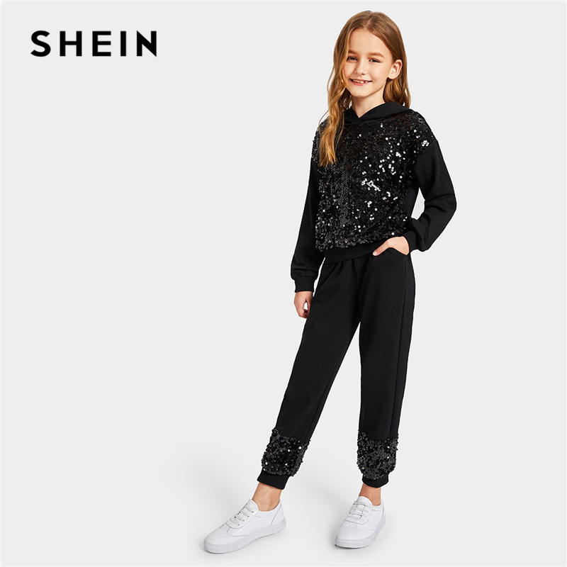 SHEIN Kiddie Girls Contrast Sequin Hoodie And Pants Casual Suit Set Kids 2019 Spring Fashion Long Sleeve Children Clothes Sets tartan plaid contrast sleeve coat