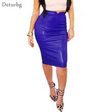 Women's Sexy Flocking Faux Leather Skirt Fashion Spring Autumn Plus Size Casual Ladies Pencil Knee-length PU Office Skirts SK42