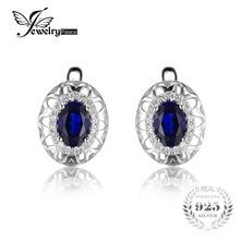 JewelryPalace Diseño Único 2.4ct Creado Azul Zafiro Declaración Pendiente de Clip En Los Pendientes de Plata de Ley 925 de Joyería Fina