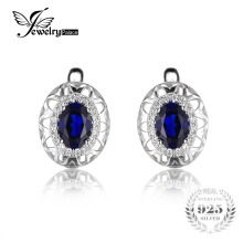 JewelryPalace Unique Design 2.4ct Created Blue Sapphire Clip On Earrings 925 Sterling Silver Fine Jewelry Statement Earring