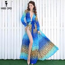 Missord сексуальное платье с v-образным вырезом и длинным рукавом с разрезом и принтом пляжное платье FT2294-2