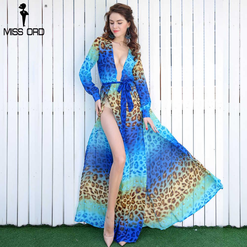 a5d3e9542d8 Missord 2019 сексуальное v-образным вырезом с длинным рукавом сплит Печать  Платье пляжное платье FT2294