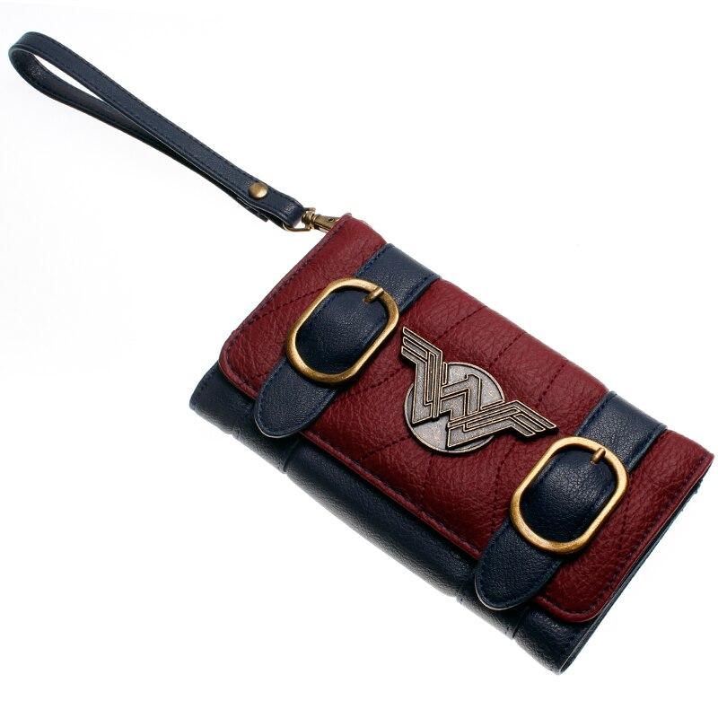 Wonder femme portefeuille double boucle tri pli rabat sac à main bleu/Bordeaux rouge brodé métal badge portefeuille femal DFT-6502 4