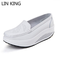 LIN KING Fashion Comfortable Women Swing Shoes Breathable PU Leather Height Increase Nurse Shoes Slip On