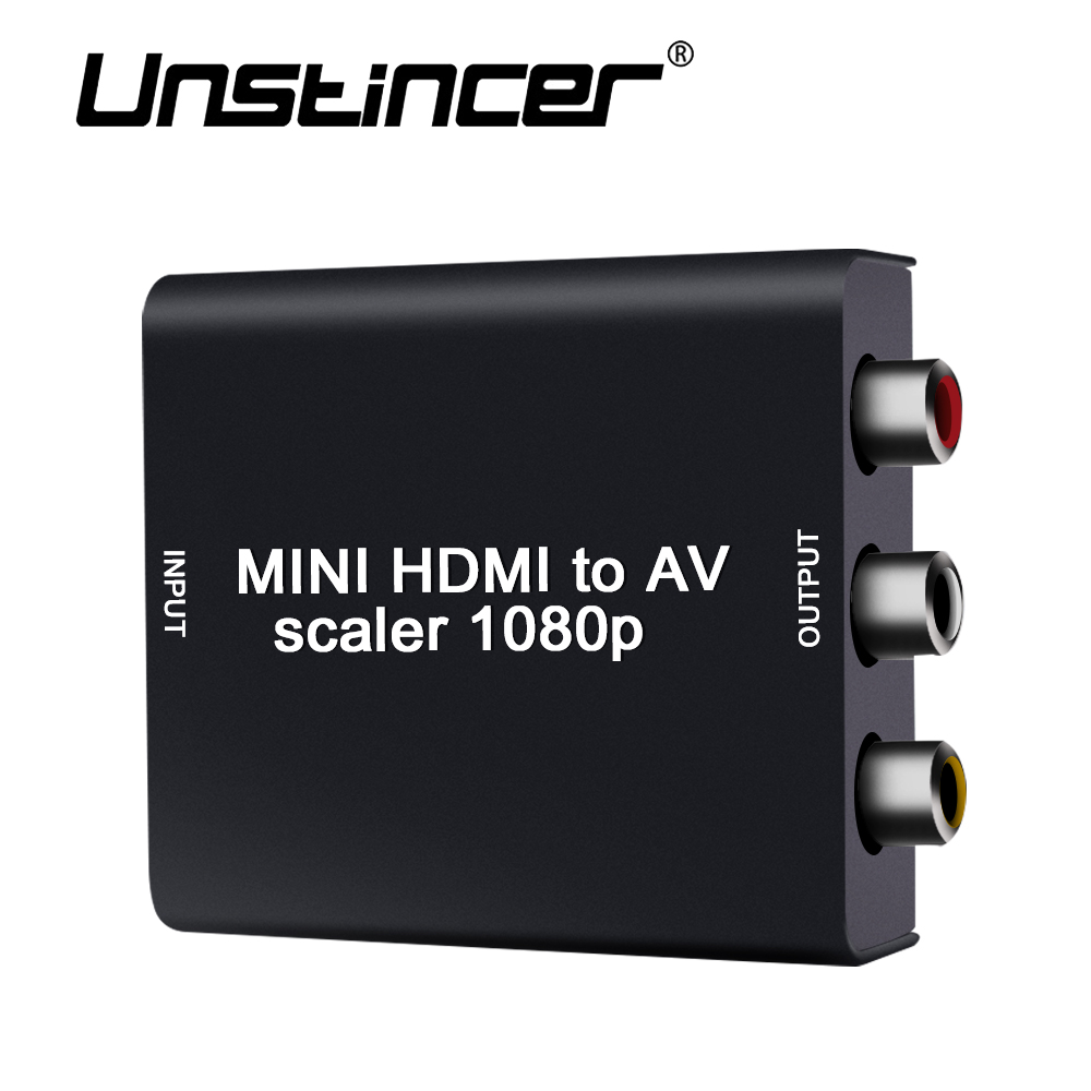 Unstincer Convertitore Hdmi Rca Adattatore Mini A Supporto Converter To Av Support Full Hd 1080p 1080 P Pal Ntsc Per Ps4 Xbox Tv