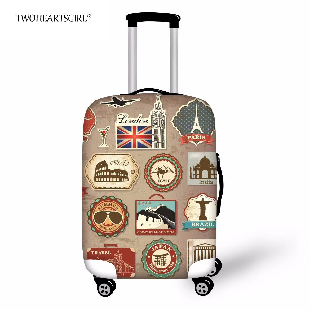 TWOHEARTSGIRL Suitcase Cover Travel Luggage Cover On Road Dustproof Luggage Protector Spandex Protection Cover For Trolley Case