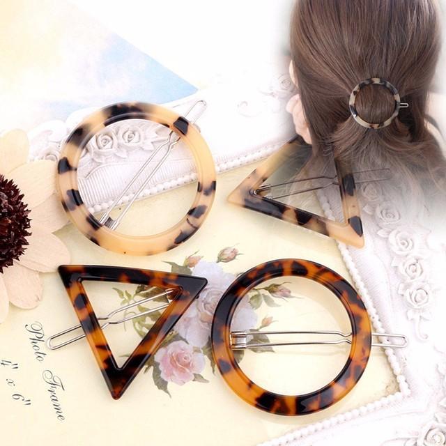 Women's Fashion Hair Accessorie Geometric Triangle Ink Leopard Hairpin Hair Clips Hair Accessories Luxury Hair Accessorie