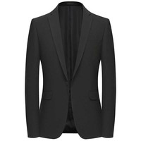 Leisure Suit Blazer for Men Casual Blazer Jacket 1 Button Jacket Coat Dress Office Wedding Blazer Male Clothing