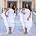 Boat Neck Sin Mangas de Las Mujeres Africano Blanco Vestidos de Baile 2017 Bajo volver Largo de Satén de Oro Capa De Cuentas Muestra Real Sirena vestidos de Baile dress