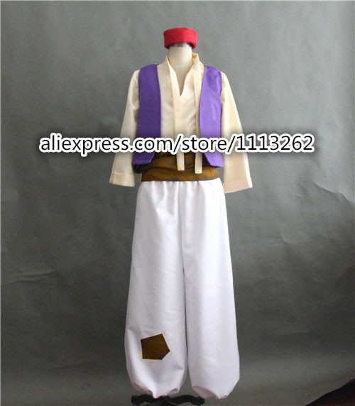 Aladdin Costume Arabian Prince Costume Aladdin Cosplay Suit Vest font b Shirt b font Pants Hat