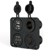 Waterproof 2 Micro USB Car Charger Adapter Cigarette Lighter Socket Plug Rocker Switch Panel LED Voltage