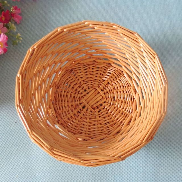 Small Size Fruit Basket Round Wicker Vegetable Of Decorative Containers Bow Hot Sal