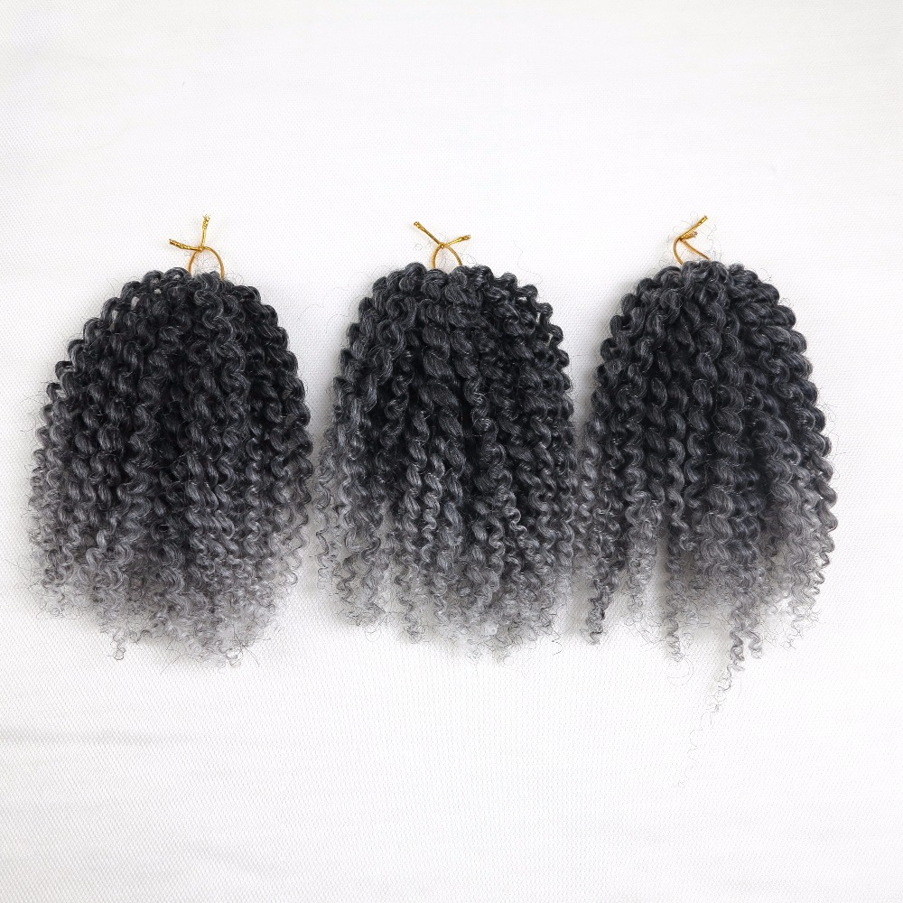 Ombre Gray 3pcs Pack 8inch Synthetic Marlibob Twist
