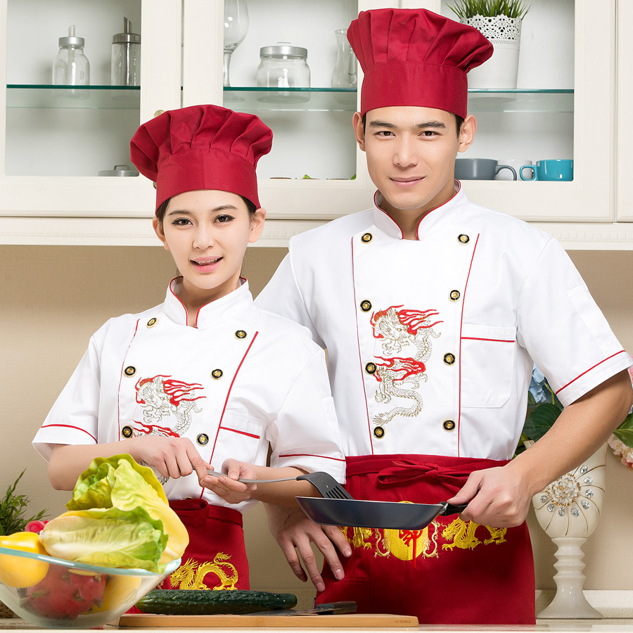 Hotel Restaurant Kitchen Short Sleeve Colorfast Shrink Resistant Denim Chef Uniform Cook Jacket Embroidered Chef Uniforms B-6244