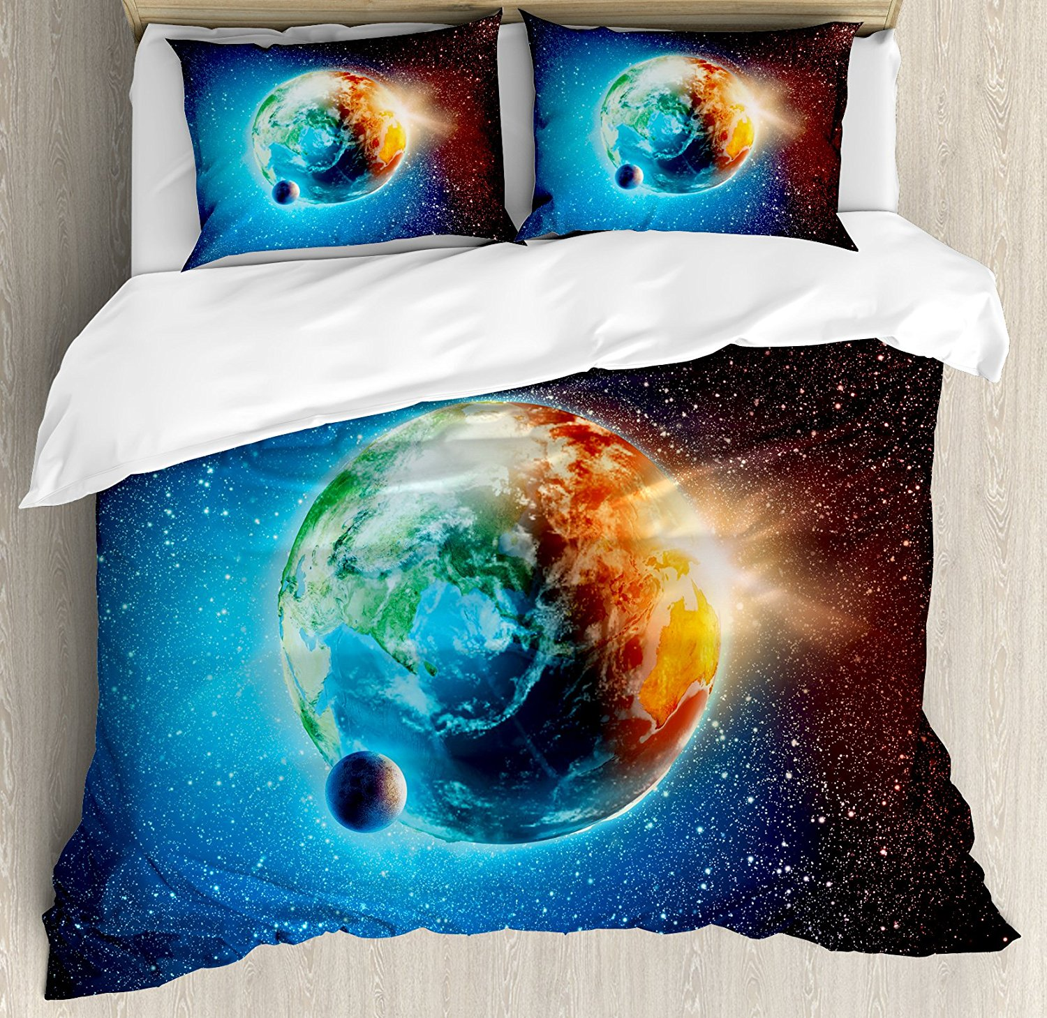 3d Earth And Meteor Shower Printed Cotton 3-piece Bedding Sets/duvet Covers Bedding Sets
