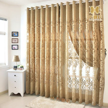 European Luxurious Beige Dark Golden Sheer Curtain High Quality Fashion Cheap Curtains For Living room Bedroom Window Drapes