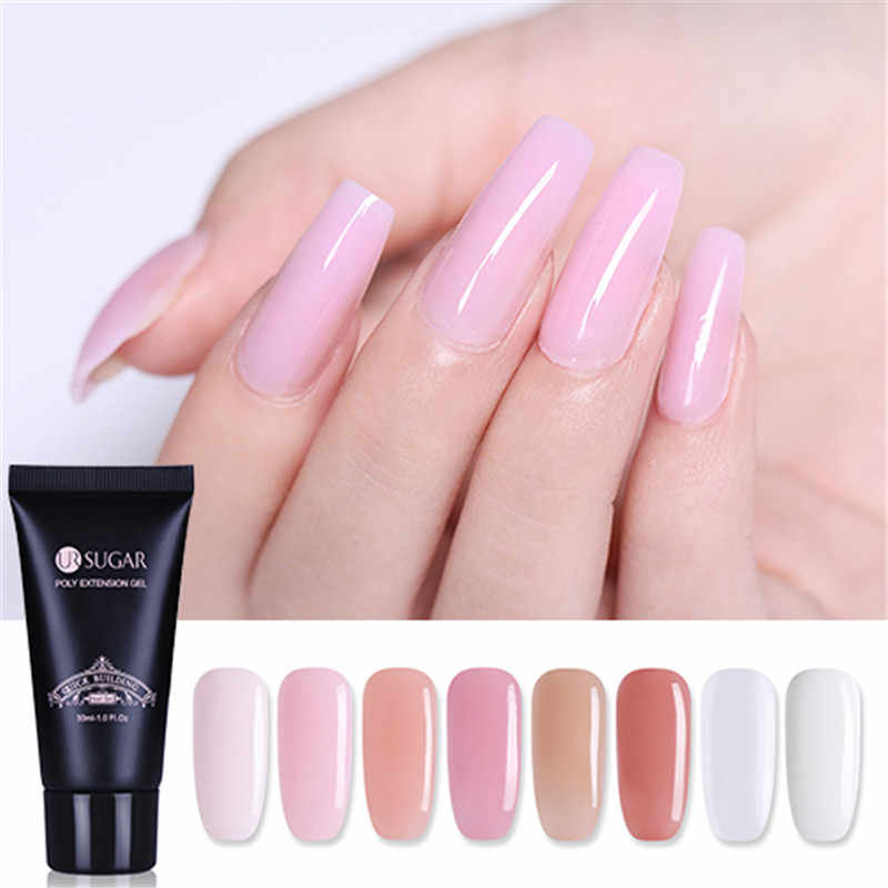 Ur Suiker 30G Poly Extension Gel Acryl Roze Wit Clear Crystal Uv Led Quick Building Gel Tips Enhancement Slip oplossing Gel