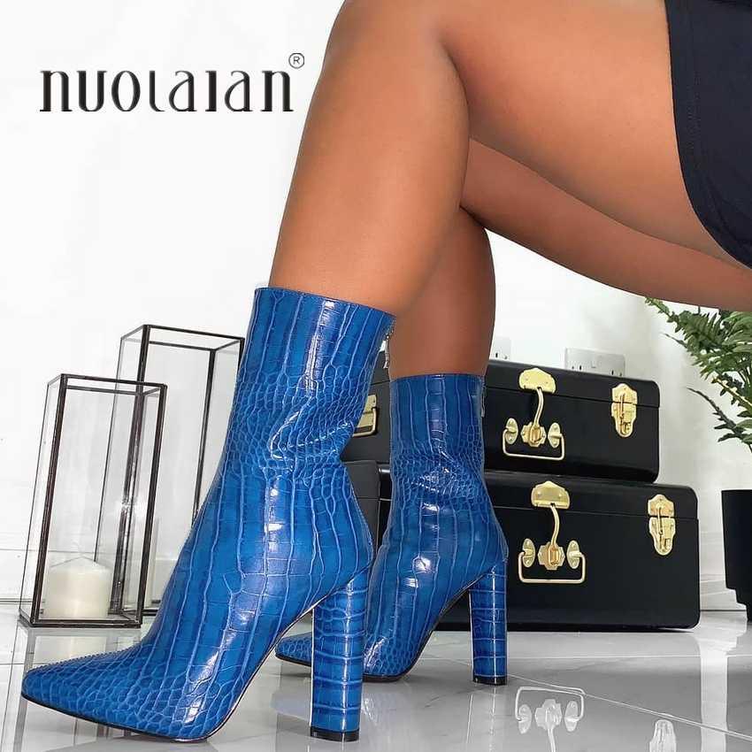 Женские ботинки; модные пикантные ботильоны для женщин; обувь на высоком каблуке с острым носком; женские ботинки осень-зима; женские ботинки на высоком каблуке