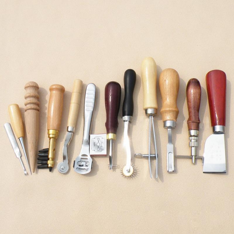 ФОТО 12pcs Leather Craft Tools Hand Stitching Leathercraft Tool DIY Punch Hole Stamp + 10pcs Blade --M25