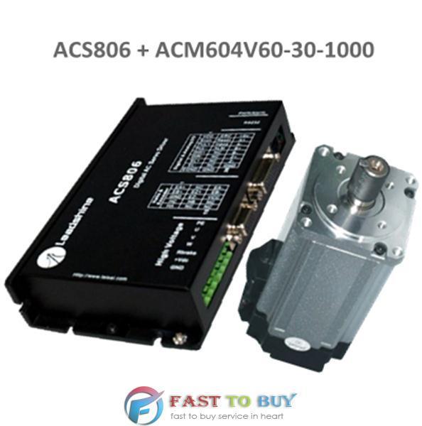 Leadshine 400W brushless AC Servo Drive And Motor ACS806 + ACM604V60-30-1000) New cnc leadshine brushless servo kit drive acs606 200w ac servo motor acm602v36 sm408 sd