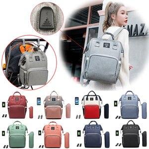 Image 1 - Сумки для подгузников Lequeen с USB интерфейсом, для мам, большие дорожные рюкзаки для младенцев, дизайнерская сумка для ухода за детьми