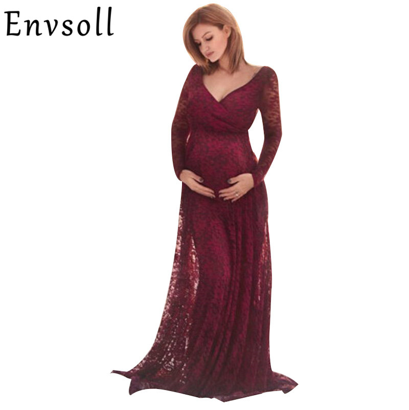 Envsoll New Maternity Dress For Photo Shoot Red Lace Gown Sexy Vestidos Maternity Photography Props Clothes For Pregnant Women