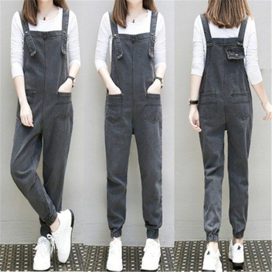 Denim Sleeveless   Jumpsuits   Spring Summer Washed Printing Bib Wide Leg Rompers Pants New Ripped Hole V Neck Button Jean Overalls
