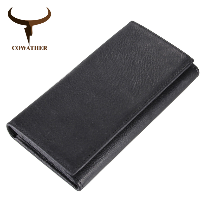 COWATHER 100% Top Cow Genuine Leather Men Wallet 2019 New Design Long Style Wallets High Quality Male Purse J8058 Free Shipping