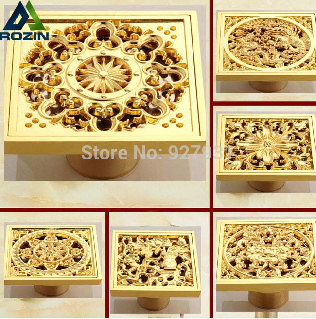 цена на Free Shipping Copper Deodorant Square Floor Drain Strainer Cover Sink Grate Waste Gold Color 4-inch