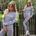 2016 New Autumn Sexy lady leisure suits Two pieces Rompers outfits Long Pants loose Women's Sets