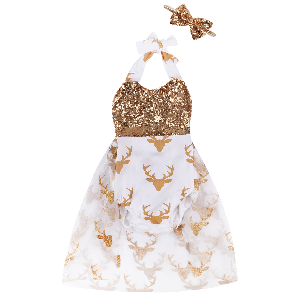 Summer Baby Clothes Newborn Toddler Baby Girls Romper Deer Sequins Belt Romper Jumpsuit Bowknot Handband 2pcs Outfit fashion 2pcs set newborn baby girls jumpsuit toddler girls flower pattern outfit clothes romper bodysuit pants
