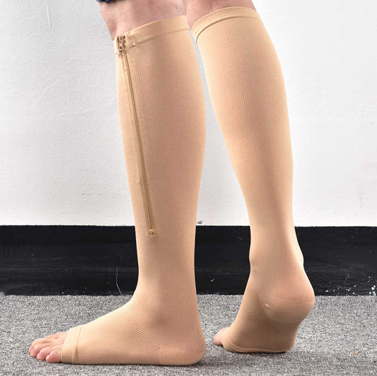 e858db326e ... Unisex Zipper Compression Socks With Open Toe-Best Support Knee High  Zipper Stocking High Quality