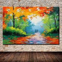 Mintura Art Handpainted Abstract Palette Knife Autumn Scenery Oil Painting On Canvas Modern Wall Picture For Wall Decor Artworks