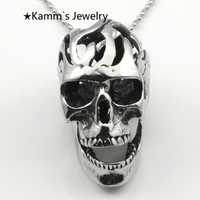 Heavy Cool Big Pendants Silver Skull Head Stainless Steel Hollow Out 2014 Casting Moveable Teeth