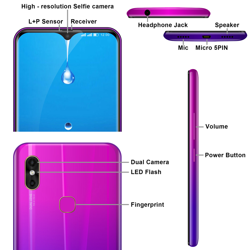 """Image 4 - LEAGOO M13 Android 9.0 6.1"""" Waterdrop Smartphone 4GB RAM 32GB ROM MT6761 Quad Core Fingerprint Face ID Dual SIM 4G Mobile Phone-in Cellphones from Cellphones & Telecommunications"""