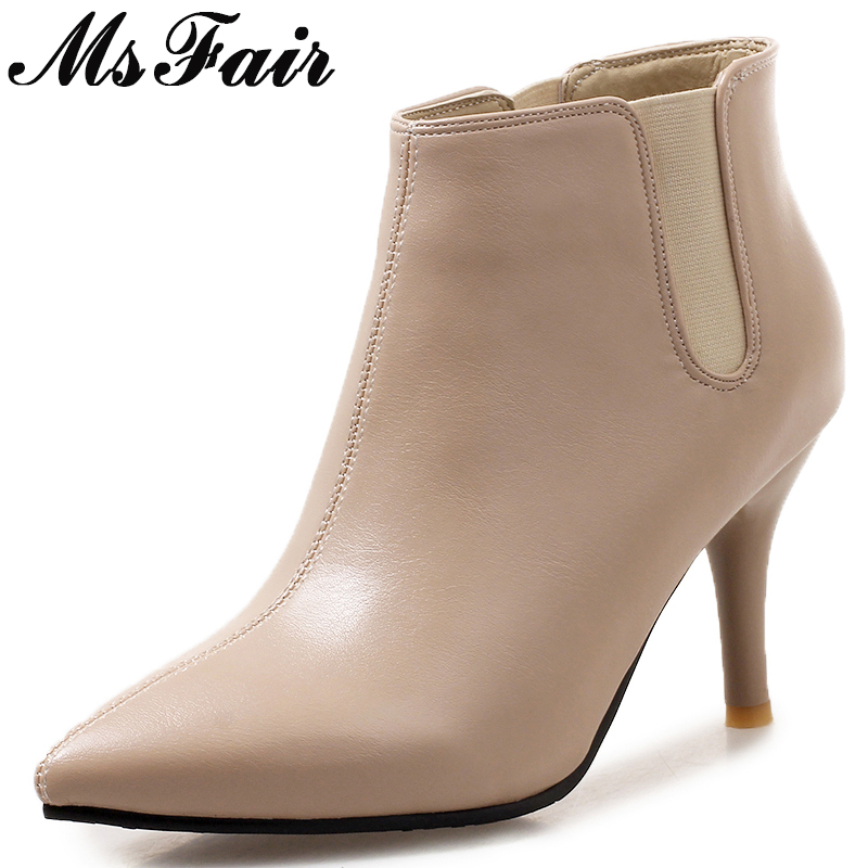 MSFAIR Pointed Toe High heel Women Boots Casual Fashion Cheap Ankle Boots Women Shoes Thin Heel Plus Size Boots Shoes Woman 2018