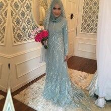 2016 Dubai Kaftan Crystal Muslim Evening Dress Musilin Formal Long Sleeves High neck With Hijab Custom Made
