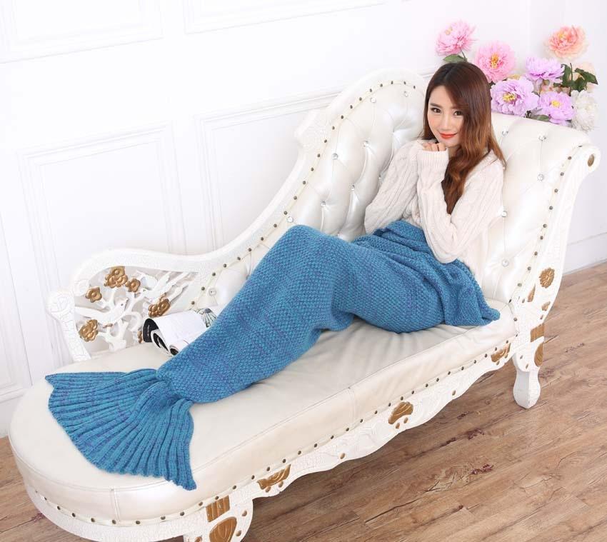 195x95 cm Filato lavorato a maglia coda di sirena coperta adulto - Tessili per la casa
