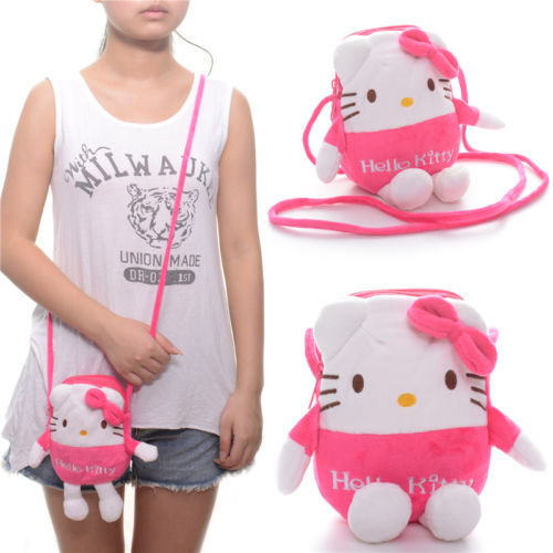 bf271f18360d 2 Layer Hello Kitty Boys and Girls Plush 7'' Key/Card/Coin Purse/Cellphone  cross shoulder bag Messenger Bag Free Shipping #LNF