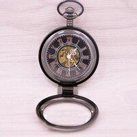 2017 Nowy Unikalne Mężczyźni Skeleton Mechaniczny Zegarek Kieszonkowy Zabytkowe Lupa z Łańcucha na prezent Relogio Montre Horloge RelojesDescrip