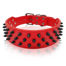 2 Inch Width Wide Spiked Studded PU Leather Dog Collars for Medium and Large Dogs Pitbull