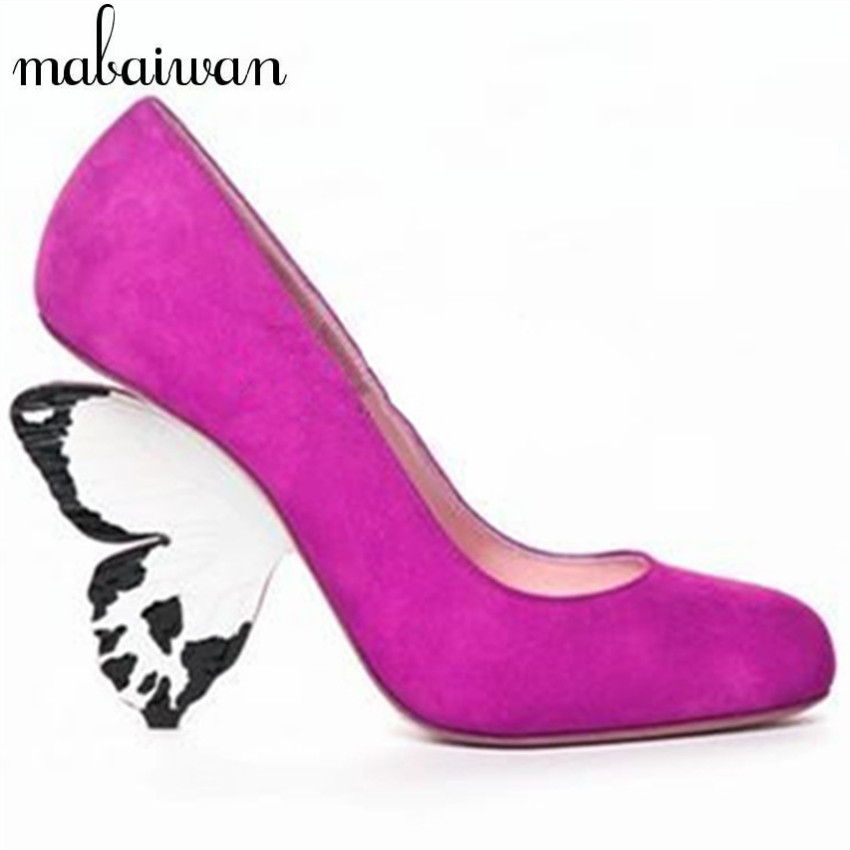 Cute Unique Style Butterfly Heel Women Pumps Suede Fashion High Heels Beauty Wedding Dress Shoes Woman Chaussure Femme