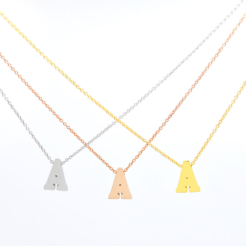 26 letter necklace pendant stainless steel rose gold platealfabet initial necklace short love necklace women jewelry