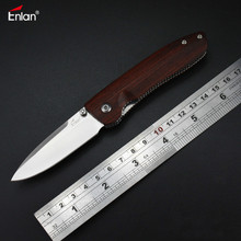 Enlan M028 Folding Knife 8Cr13Mov Blade Wood Handle Outdoor Survival Camping Pokcet Knife
