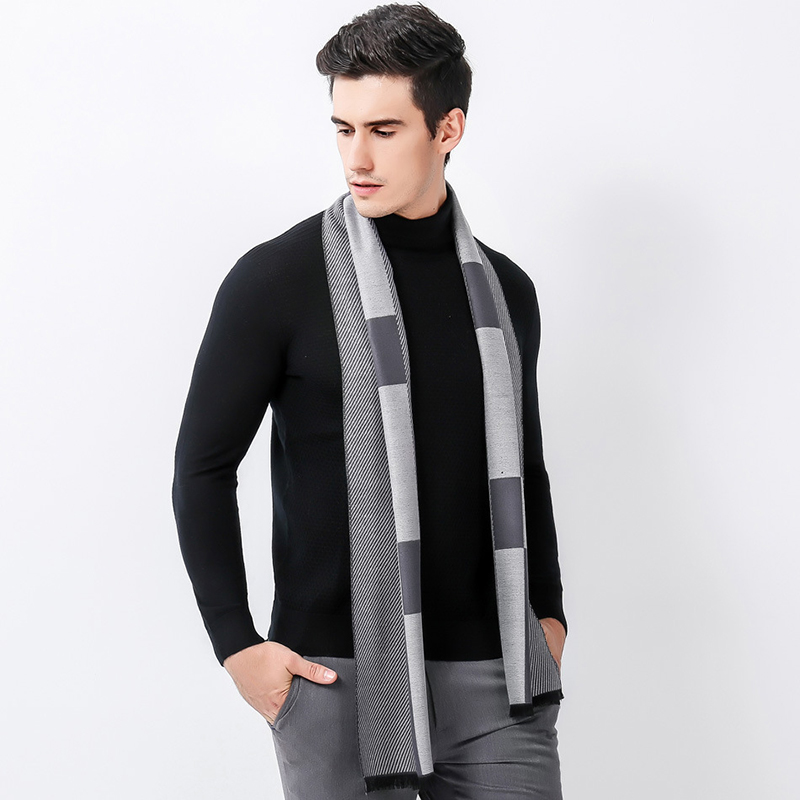 Fahion Luxury Men   Scarf   Business Casual Thick Wool   Scarves   European Style Imitation Cashmere   Scarves     Wrap   Warm   Scarf