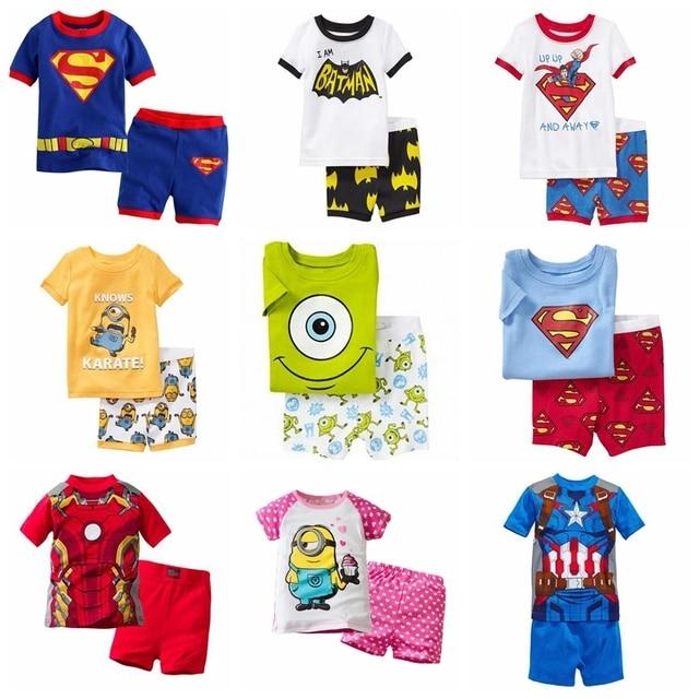 a14b10b5e2 2014 nuevos niños ropa corta set niños niñas niños Pijama corto conjunto